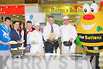 ITT: Derek Rusk manager of the Manor West Shopping Centre, Tralee who was given some tip on Saturday by ITT Tralee chefs on flipping pancakes to raise funds for charity they were, Derek Rusk, Padraig Hourihan,Caroline Domaher, Pane Fitzpatrick, Nora marie O'Mahony and Francesso Matassa and Bee for Battens..