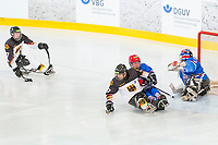 19th November 2019, Berlin, Germany. World Para Ice Hockey Championships, Germany versus Great Britain;  Great Britain goal under Attack by the German Team
