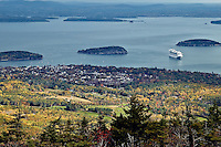 View  of Bar Harbor and Acadia National Park, Maine, ME