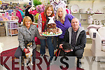 Pictured at Ballyseedy Garden Centre on Monday were l-r: Breda O'Shea (Animal Heaven and Animal Rescue) Debbie Knowles (Ballyseedy Garden Centre) Jane Wheeler (Sean Cara Health Foods) Tom O'Shea (Animal Heaven and Animal Rescue) with Molly and Misty (the dogs) as O'Carroll's Cakes, Killarney donated a cake and was raffled off on Monday evening.