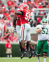 The Georgia Bulldogs played North Texas Mean Green at Sanford Stadium.  After North Texas tied the game at 21 early in the second half, the Georgia Bulldogs went on to score 24 unanswered points to win 45-21.  Georgia Bulldogs linebacker Jordan Jenkins (59) celebrates after a tackle.