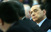 Il leader del Popolo della Liberta' Silvio Berlusconi durante l'incontro organizzato dalla Confartigianato a Roma, 27 marzo 2008..Leader of the People of Freedom center-right coalition Silvio Berlusconi looks on during an electoral meeting organized by Confartigianato handicrafts organization in Rome, 27 march 2008..UPDATE IMAGES PRESS/Riccardo De Luca