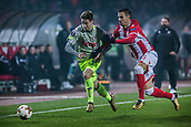 7th December 2017, Rajko Mitic Stadium, Belgrade, Serbia, UEFA Europa League football, Red Star Belgrade versus FC Cologne; Defender Jonas Hector of FC Koeln breaks up thw wing against Forward Aleksandar Pesic of Red Star Belgrade