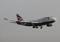 A British Airways Boeing 747-436 Registration G-BYGF landing on runway 09L at London Heathrow Airport on 3.8.19 arriving from Washington Dulles International Airport, United States of America.