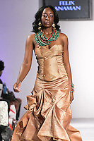 Model walks the runway in an outfit by Ghanaian fashion designer Felix Anaman, for the Felix Anaman Clothing collection, during BK Fashion Weekend Spring Summer 2012.
