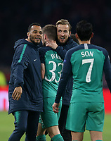 Spurs players including Harry Kane of Tottenham Hotspur celebrate reaching the final after AFC Ajax vs Tottenham Hotspur, UEFA Champions League Football at the Johan Cruyff Arena on 8th May 2019
