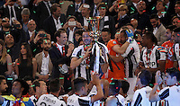 Calcio, finale Tim Cup: Milan vs Juventus. Roma, stadio Olimpico, 21 maggio 2016.<br /> Juventus&rsquo; Leonardo Bonucci holds the trophy at the end of the Italian Cup final football match between AC Milan and Juventus at Rome's Olympic stadium, 21 May 2016. Juventus won 1-0 in the extra time.<br /> UPDATE IMAGES PRESS/Isabella Bonotto