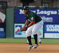 First baseman Boss Moanaroa (29) of the Greenville Drive in a game against the Asheville Tourists on Sunday, August 26, 2012, at Fluor Field at the West End in Greenville, South Carolina. Greenville won, 5-4. (Tom Priddy/Four Seam Images)