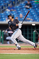 Jupiter Hammerheads shortstop Joe Dunand (3) follows through on a swing during a game against the Clearwater Threshers on April 9, 2018 at Spectrum Field in Clearwater, Florida.  Jupiter defeated Clearwater 9-4.  (Mike Janes/Four Seam Images)