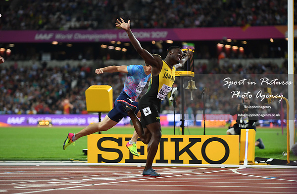 Omar MCLEOD (JAM) celebrates as he crosses the line to win the mens 110m hurdles final. IAAF world athletics championships. London Olympic stadium. Queen Elizabeth Olympic park. Stratford. London. UK. 07/08/2017. ~ MANDATORY CREDIT Garry Bowden/SIPPA - NO UNAUTHORISED USE - +44 7837 394578