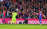 Roberto Firmino celebrates with goalscorer Joel Matip of Liverpool during the EPL - Premier League match between Crystal Palace and Liverpool at Selhurst Park, London, England on 29 October 2016. Photo by Steve McCarthy.