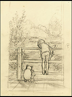 BNPS.co.uk (01202) 558833<br /> Pic: Sotheby's/BNPS<br /> <br /> ****Please use full byline****<br /> <br /> A lost sketch that is the first ever depiction of the game Poohsticks by famed illustrator E.H Shepard has been found after 87 years and is being sold for an estimated &pound;50,000.<br /> <br /> The pencil drawing was the first time the Winnie-the-Pooh artist put down on paper his idea for the timeless outdoor game played by children for generations.<br /> <br /> Shepard's preliminary sketch shows Christopher Robin leaning over a wooden bridge, about to drop a stick in the flowing stream below.<br /> <br /> Next to him is Pooh Bear who is doing the same, and Piglett, who is looking on.