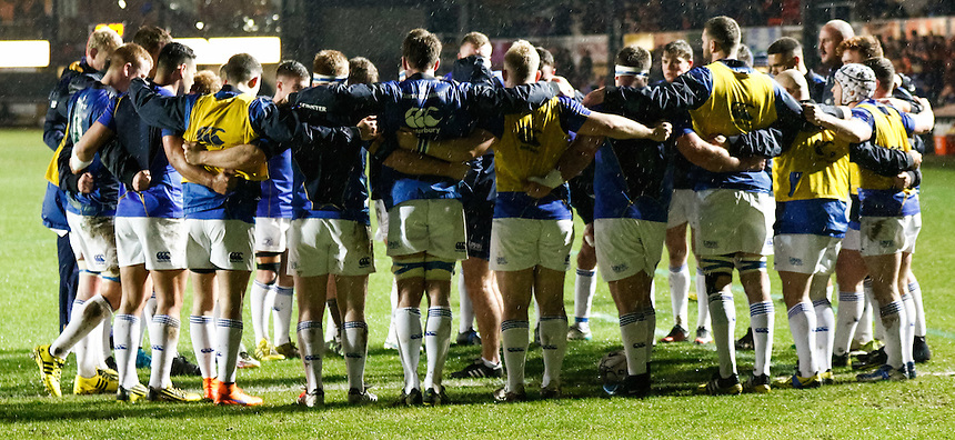 Leinster team huddle during the pre match warm up<br /> <br /> Photographer Simon KIng/CameraSport<br /> <br /> Rugby Union - Guinness PRO12 Round 13 - Newport Gwent Dragons v Leinster - Friday 29th January 2016 - Rodney Parade - Newport<br /> <br /> &copy; CameraSport - 43 Linden Ave. Countesthorpe. Leicester. England. LE8 5PG - Tel: +44 (0) 116 277 4147 - admin@camerasport.com - www.camerasport.com