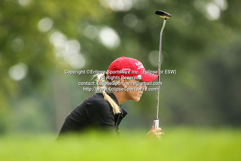 Brooke Pancake reacts after missing her putt on the 9th green at the LPGA Championship 2014 Sponsored By Wegmans at Monroe Golf Club in Pittsford, New York on August 16, 2014