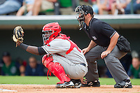 Catcher Jair Fernandez #8 of the Rochester Red Wings gives a target as home plate umpire Stephen Barga looks on at Knights Stadium August 1, 2010, in Fort Mill, South Carolina.  Photo by Brian Westerholt / Four Seam Images