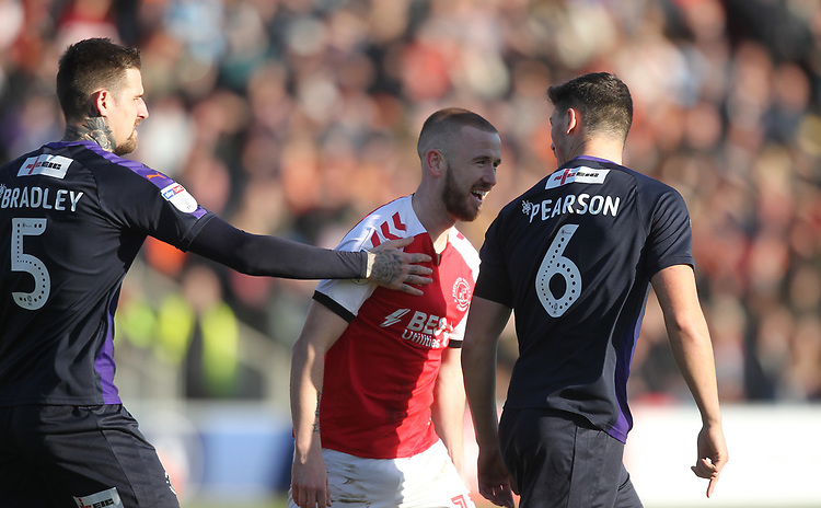 Fleetwood Town's Paddy Madden  has words with Luton Town's Matty Pearson <br /> <br /> Photographer Mick Walker/CameraSport<br /> <br /> The EFL Sky Bet League One - Fleetwood Town v Luton Town - Saturday 16th February 2019 - Highbury Stadium - Fleetwood<br /> <br /> World Copyright © 2019 CameraSport. All rights reserved. 43 Linden Ave. Countesthorpe. Leicester. England. LE8 5PG - Tel: +44 (0) 116 277 4147 - admin@camerasport.com - www.camerasport.com