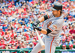 7 August 2016: San Francisco Giants left fielder Angel Pagan in action against the Washington Nationals at Nationals Park in Washington, DC. The Nationals shut out the Giants 1-0 to take the rubber match of their 3-game series. Mandatory Credit: Ed Wolfstein Photo *** RAW (NEF) Image File Available ***