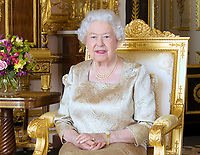 01 July 2017 - London, England - This new portrait of Queen Elizabeth II, wearing the maple leaf brooch inherited from her mother, has been released  for Canada Day (July 1) to mark the 150th anniversary of Confederation. The portrait, by Toronto-based photographer Ian Leslie Macdonald, is being issued as the Prince of Wales and the Duchess of Cornwall continue on a three day tour of Canada around the anniversary celebrations. The brooch, made of platinum, set with diamonds,  has been worn in Canada by Queen Elizabeth, the Queen Mother; by Princess Elizabeth for her first visit in 1951, Camilla the Duchess of Cornwall in 2009 and Kate the Duchess of Cambridge in 2011.  Photo Credit: Alpha Press/AdMedia