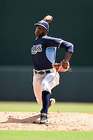 Tampa Bay Rays pitcher Damion Carroll (64) during an Instructional League game against the Baltimore Orioles on September 15, 2014 at Ed Smith Stadium in Sarasota, Florida.  (Mike Janes/Four Seam Images)