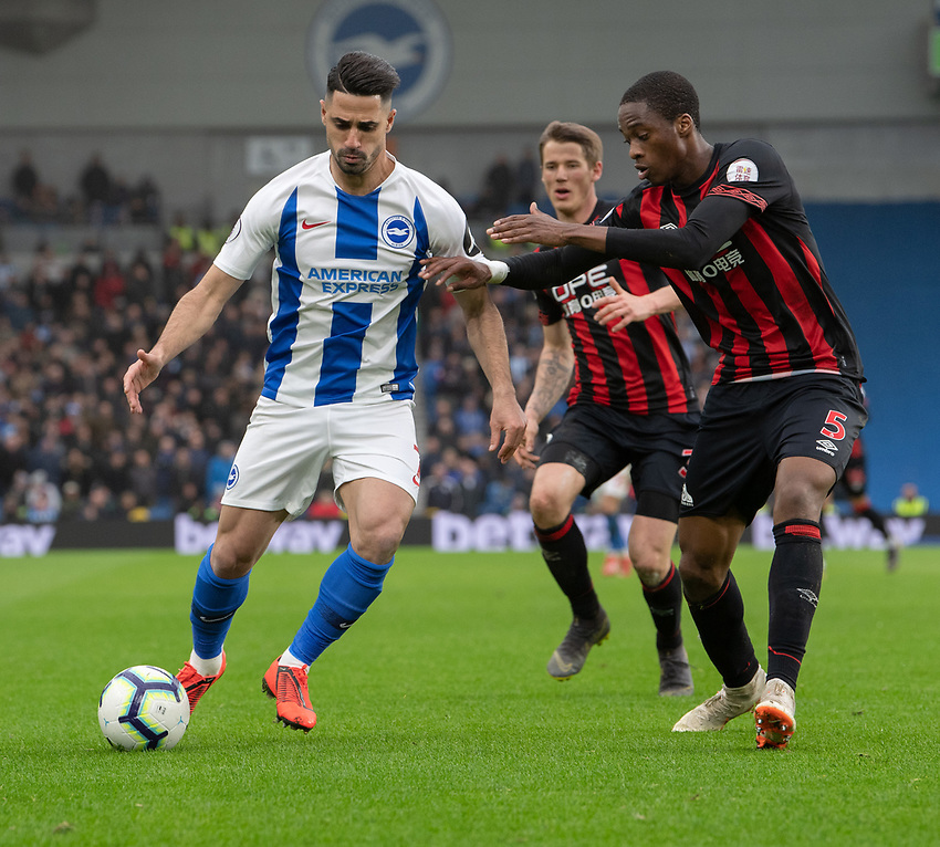 Brighton & Hove Albion's Beram Kayal (left) under pressure from Huddersfield Town's Terence Kongolo (right) <br /> <br /> Photographer David Horton/CameraSport<br /> <br /> The Premier League - Brighton and Hove Albion v Huddersfield Town - Saturday 2nd March 2019 - The Amex Stadium - Brighton<br /> <br /> World Copyright © 2019 CameraSport. All rights reserved. 43 Linden Ave. Countesthorpe. Leicester. England. LE8 5PG - Tel: +44 (0) 116 277 4147 - admin@camerasport.com - www.camerasport.com