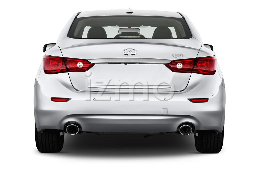 Straight rear view of 2017 Infiniti Q50 Hybrid-Premium 4 Door Sedan Rear View  stock images