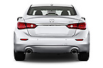 Straight rear view of 2017 Infiniti Q50 Hybrid-Premium 4 Door Sedan Rear View  stock images