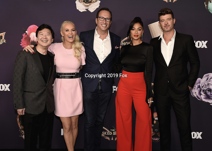 """BEVERLY HILLS  - SEPTEMBER 10:  Ken Jeong, Jenny McCarthy, Charlie Collier (CEO of FOX Entertainment) Nicole Scherzinger and Robin Thicke attend the season two premiere event for FOX's """"The Masked Singer"""" at The Bazaar at the SLS Beverly Hills on September 10, 2019 in Beverly Hills, California. (Photo by Scott Kirkland/FOX/PictureGroup)"""
