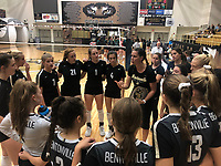 NWA Democrat-Gazette/ANDY SHUPE<br /> Bentonville coach Michelle Smith speaks to her team Tuesday, Sept. 10, 2019, during a timeout against Van Buren in Tiger Arena in Bentonville. Visit nwadg.com/photos to see more photos from the match.