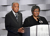 Wayne Owens and  Barbara Owens of Cleveland, Ohio, whose son Derek was killed in the line of duty, makes remarks during the fourth session of the 2016 Democratic National Convention at the Wells Fargo Center in Philadelphia, Pennsylvania on Thursday, July 28, 2016.<br /> Credit: Ron Sachs / CNP<br /> (RESTRICTION: NO New York or New Jersey Newspapers or newspapers within a 75 mile radius of New York City)