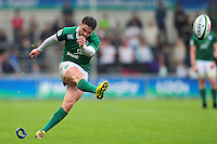 Bill Johnston of Ireland U20 kicks for the posts. World Rugby U20 Championship match between New Zealand U20 and Ireland U20 on June 11, 2016 at the Manchester City Academy Stadium in Manchester, England. Photo by: Patrick Khachfe / Onside Images