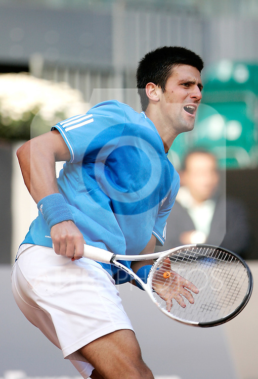 Serbia's Novak Djokovic reacts during his Madrid Open quarter final match. May 15, 2009. (ALTERPHOTOS/Alvaro Hernandez)