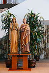 The Roman Catholic Church bought the Crystal Cathedral out of bankruptcy in 2011 and is currently transforming the iconic campus into a cathedral. Construction on Christ Cathedral will be complete in 2016. Religious statues are on display at the altar in the Arboretum on the campus in Garden Grove, California, seen August 5, 2014. <br /> CREDIT: Kendrick Brinson for The Wall Street Journal<br /> OCTV