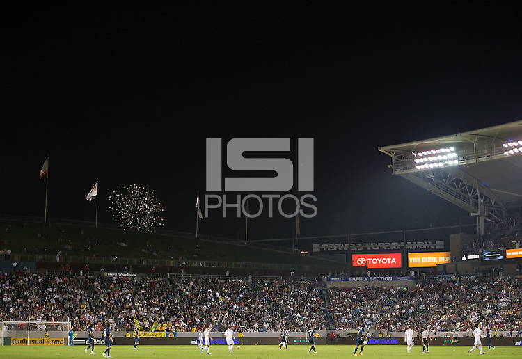 CARSON, CA - July 4, 2012: Fireworks during the LA Galaxy vs Philadelphia Union match at the Home Depot Center in Carson, California. Final score LA Galaxy 1, Philadelphia Union 2.