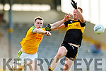 Mark Griffin, South Kerry in action against Johnny Buckley, Dr Crokes during the Semi finals of the Kerry Senior GAA Football Championship between Dr Crokes and South Kerry at Fitzgerald Stadium on Sunday.