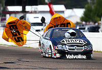 Aug. 17, 2013; Brainerd, MN, USA: NHRA pro stock driver Vincent Nobile during qualifying for the Lucas Oil Nationals at Brainerd International Raceway. Mandatory Credit: Mark J. Rebilas-