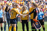 Sandy, UT - Saturday April 14, 2018: Becky Sauerbrunn, Alyssa Naeher during a regular season National Women's Soccer League (NWSL) match between the Utah Royals FC and the Chicago Red Stars at Rio Tinto Stadium.