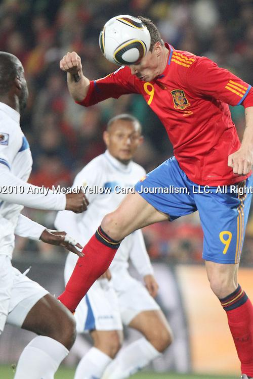 21 JUN 2010: Fernando Torres (ESP) (9). The Spain National Team played the Honduras National Team at Ellis Park Stadium in Johannesburg, South Africa in a 2010 FIFA World Cup Group C match.