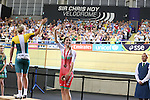 Glasgow 2014 Commonwealth Games<br /> Elinor Barker (Wales) celebrates her bronze medal.<br /> Womens 10km Scratch Race<br /> Sir Chris Hoy Velodrome<br /> 26.07.14<br /> ©Steve Pope-SPORTINGWALES