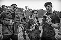"On the set of ""The Starving Games"" with The Expandables... Joseph Aviel as Arnold and Jade Roberts as Sly with actress Maiara Walsh as Kantmiss Evershot."