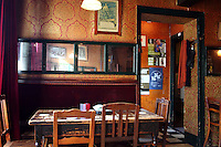 "BRUGES, BELGIUM - FEBRUARY 06 : A general view of a charming bistro called ""L'Estaminet"" on February 06, 2009 in Bruges, Western Flanders, Belgium. 'Estaminet' was the usual name given to the pubs with music in the North of France and Wallonia. (Photo by Manuel Cohen)"