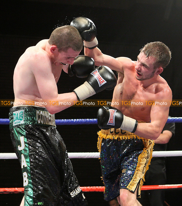 Peter McDonagh (Bermondsey, green/black shorts) defeats Lee Purdy (Colchester, blue/gold shorts) in a Light-Welterweight boxing contest for the Southern Area Title at the Brentwood Centre, Essex promoted by Hennessy Sports -  13/12/08 - MANDATORY CREDIT: Gavin Ellis/TGSPHOTO - Self billing applies where appropriate - Tel: 0845 094 6026