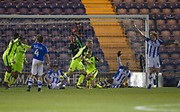 After a goalmouth scramble Jayden Stockley of Exeter City climes the equalising goal during Colchester United vs Exeter City, Sky Bet EFL League 2 Football at the JobServe Community Stadium on 24th November 2018