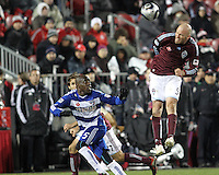 Jair Benitez#5 of FC Dallas watches a header from Conor Casey#9 of the Colorado Rapids during MLS Cup 2010 at BMO Stadium in Toronto, Ontario on November 21 2010. Colorado won 2-1 in overtime.