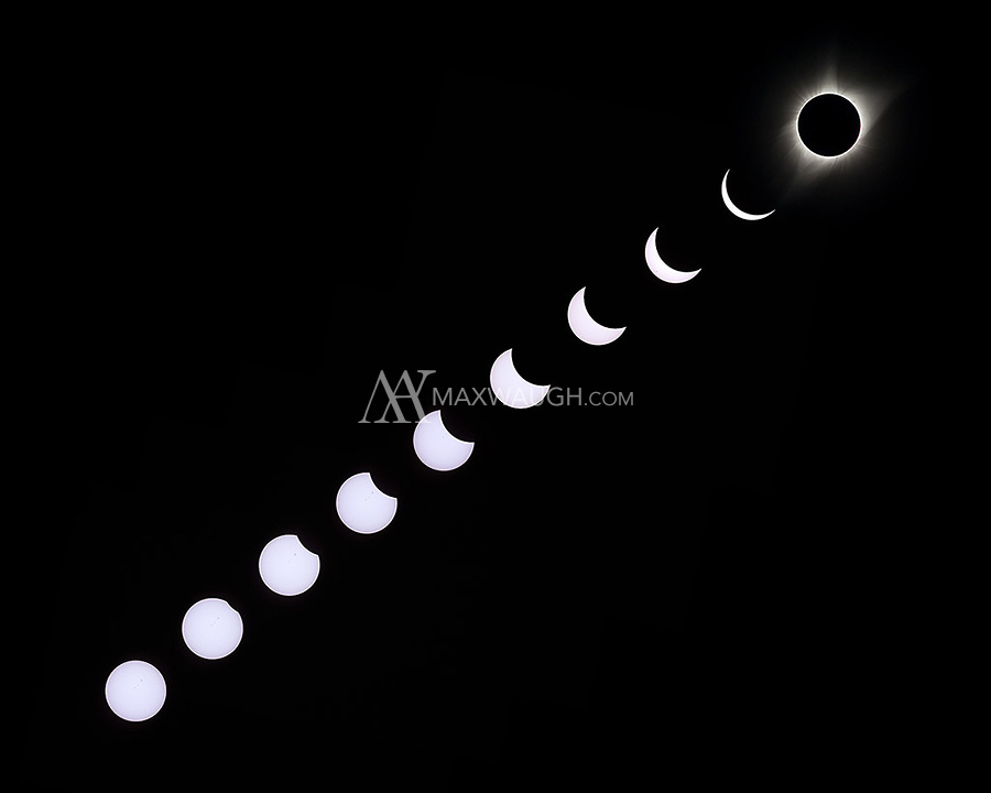 A composite sequence showing the 2017 total solar eclipse from the start to totality.  The sun's light is actually white, rather than yellow.