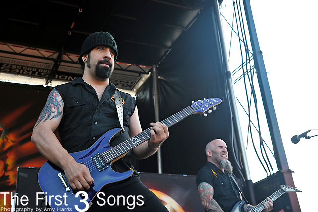 Rob Caggiano of Anthrax performs at the 2012 Rockstar Energy Drink Mayhem Festival at Blossom Music Center in Cleveland, Ohio.
