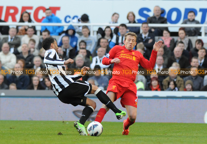 Newcastle United's James Perch battles with Lucas Leiva of Liverpool - Newcastle United vs Liverpool - Barclays Premier League Football at St James Park, Newcastle upon Tyne - 27/04/13 - MANDATORY CREDIT: Steven White/TGSPHOTO - Self billing applies where appropriate - 0845 094 6026 - contact@tgsphoto.co.uk - NO UNPAID USE