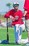5 March 2015: Washington Nationals outfielder Michael Taylor awaits his turn in the batting cage prior to a Spring Training game against the New York Mets at Space Coast Stadium in Viera, Florida. The Nationals rallied to defeat the Mets 5-4 in Grapefruit League play. Mandatory Credit: Ed Wolfstein Photo *** RAW (NEF) Image File Available ***
