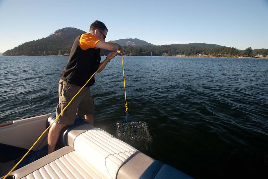 Brent Tends His Crab Traps, Orcas Island, San Juan Islands, Washington, US