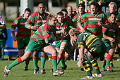 D. Olsen about to be tackled by J. Maher. Counties Manukau Premier Club Rugby, Pukekohe v Waiuku  played at the Colin Lawrie field, on the 3rd of 2006.Pukekohe won 36 - 14