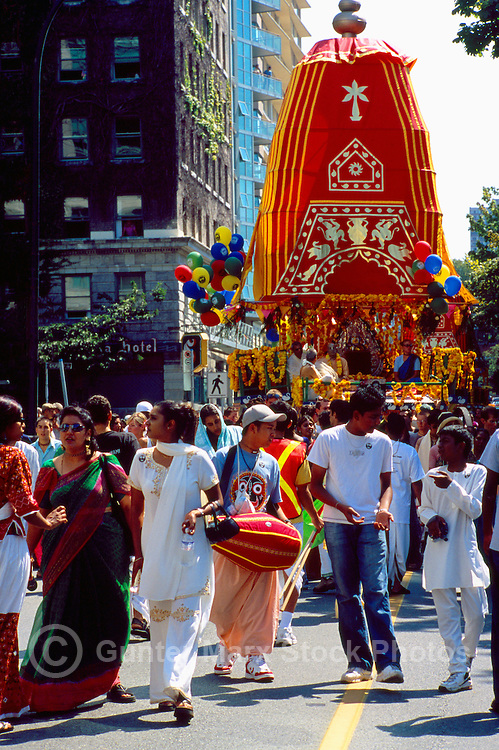 Hare Krishna Chariot Parade and Festival of India, Vancouver, BC, British Columbia, Canada - Devotees walking with Float